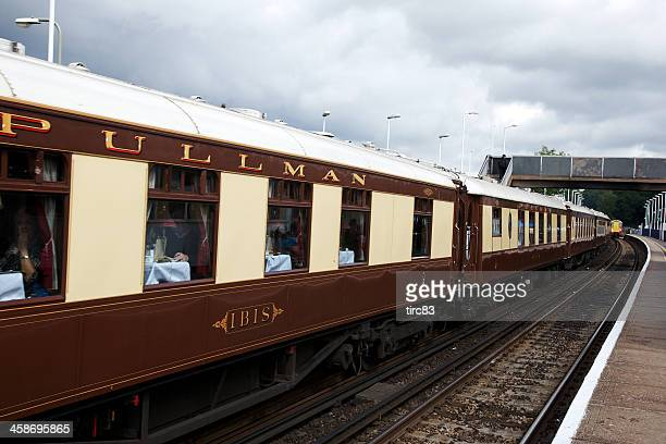 old fashioned pullman railway carriage at wokingham station - pullman stock photos and pictures