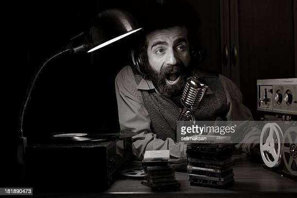 Old fashioned radio disc jockey broadcasting