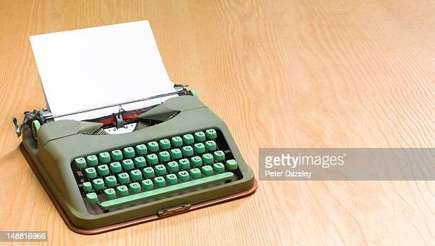 old fashioned, retro typewriter, with copy space - portability stock pictures, royalty-free photos & images