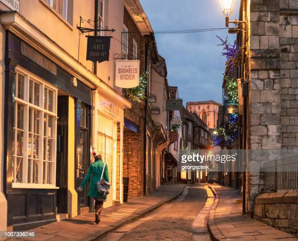 old fashioned streets of york - york stock photos and pictures