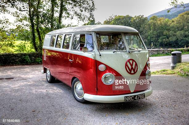 Old fashioned VW campervan on Welsh country lane