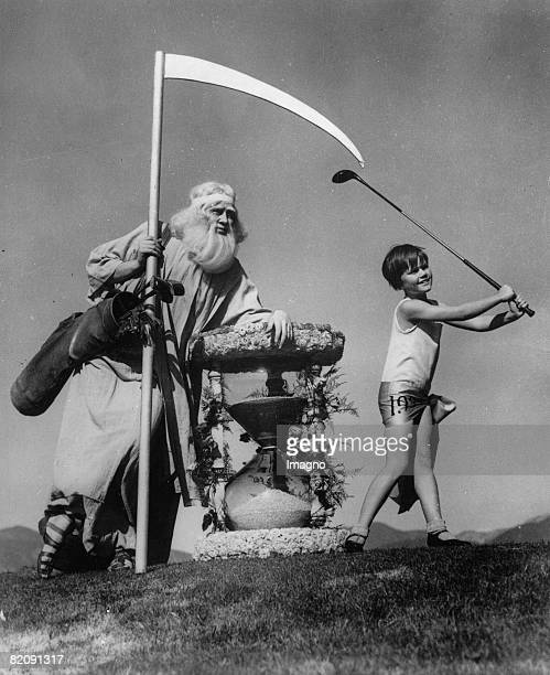 Old Father Time and Little 1932 Tee off during the preparations of the opening of the annual Pasadena Open Golf Tournament at Pasadena California...