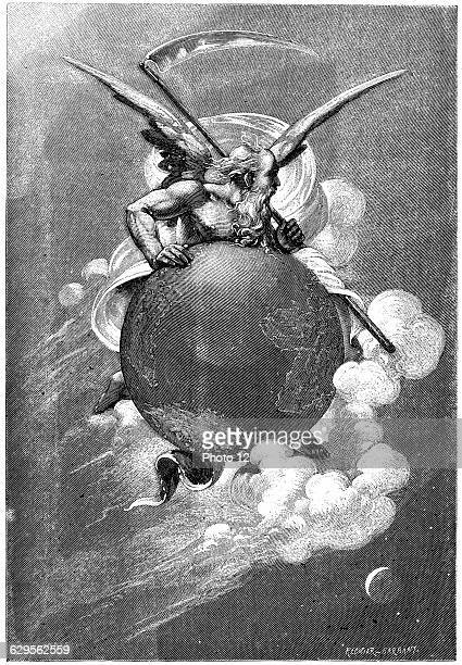 Old Father Time Carried by Time Earth travels through space continually turning on its axis 1881Wood engravingParis