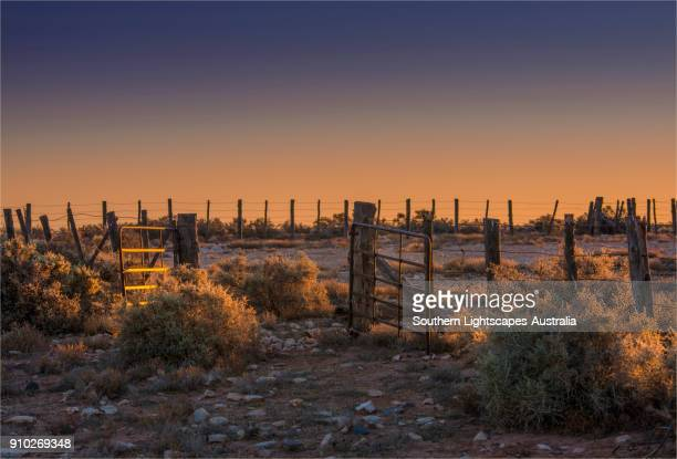 Old fences and sheep pens near Parachilna, Flinders Ranges, South Australia.