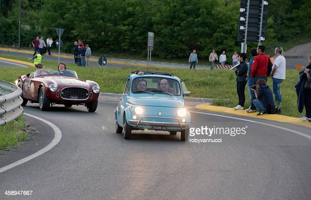 old fiat 500 during a vintage cars exhibition parade - man made age stock pictures, royalty-free photos & images