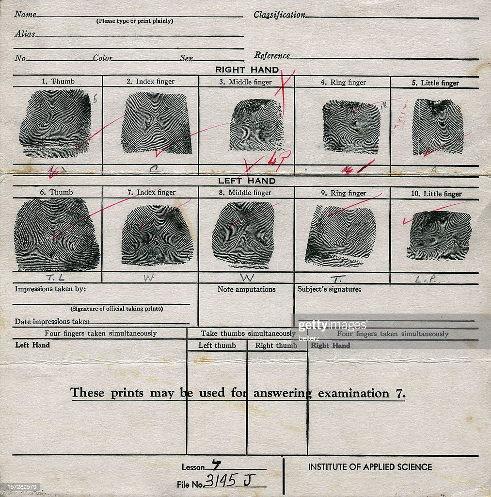 old fingerprint chart : Stock Photo
