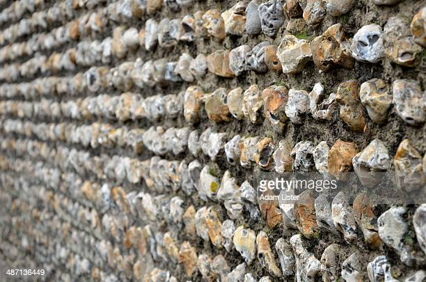 old flint wall - chert stock photos and pictures
