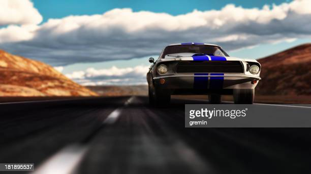 Old Ford Mustang 1966 speeding on empty dessert road