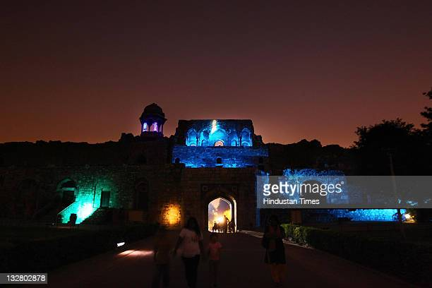 Old Fort lit up in spectacular blue lighting in the evening on November 13 2011 in an attempt to help Delhiites become aware of the dangers of...