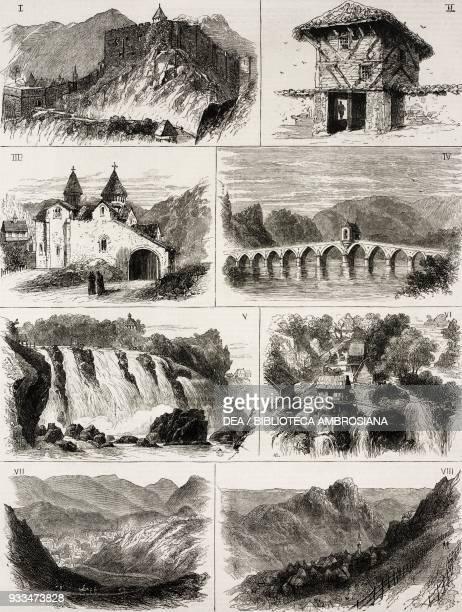1 Old Fortress of Yaitza 2 Wooden Gate House at Novi Pazar 3 Monastery of Banja Luka 4 stone bridge over the Drina at Visegrad 5 Falls of the Pleva...