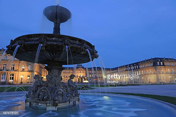 old fountain before new palace stuttgart twilight - stuttgart stock pictures, royalty-free photos & images