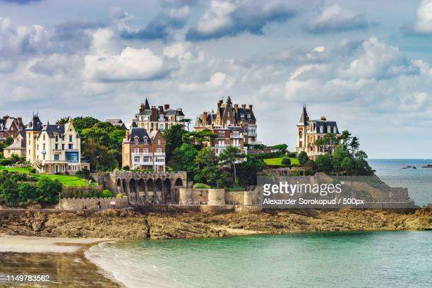 old french mansions on the seaside of brittany - dinard stock pictures, royalty-free photos & images