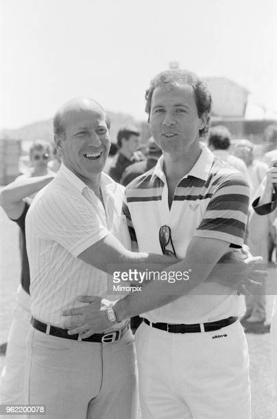 Old friends and adversaries Bobby Charlton Franz Beckenbauer pictured together at England training camp in Navacerrada Madrid Spain Sunday 27th June...