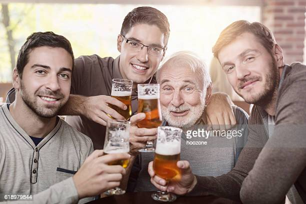 Old friends in bar