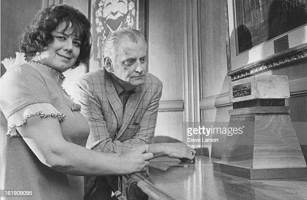 MAR 19 1969 Old 'Friends' Meet at Bonfils Theatre Art Carney and Anna Manahan studies an old stone from the original Abbey Theatre in Dublin Ireland...