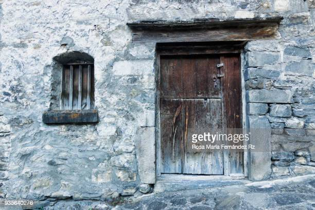 Old front door in Torla, typical village of Huesca, Pais Vasco, Northern of Spain, Europe