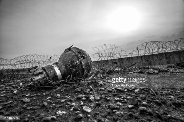 old gas grenade, palestine - war and conflict stock pictures, royalty-free photos & images