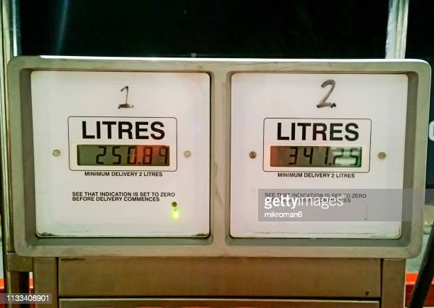 old gas pump for diesel at a gas station. truck, bus pump - financial figures stock pictures, royalty-free photos & images