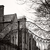 Old gate, Durham - Traditional Anglosaxon gate, closed, with mansion