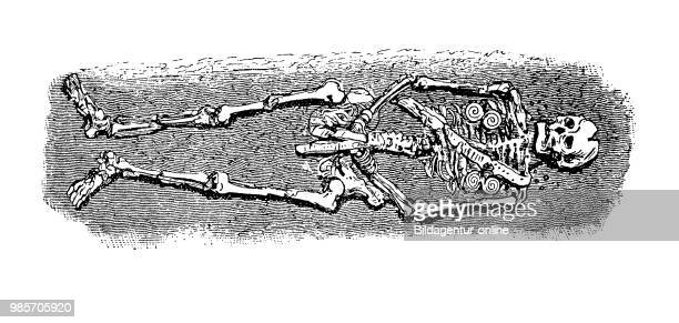 Old Germanic burial burial with decoration in the earth Germany digital improved reproduction of a woodcut publication in the year 1885