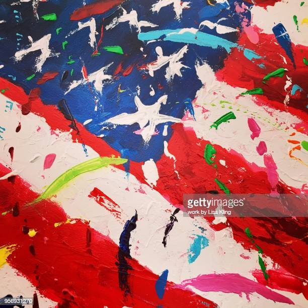 Old Glory, Abstract Confetti & Fireworks US Flag