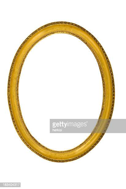 Old golden oval frame on a white background