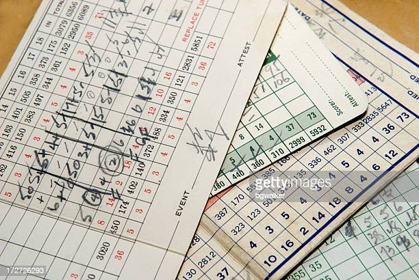 old golf cartes de score - marquer photos et images de collection