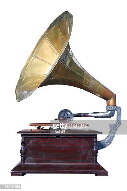 old gramophone from an isolate white background - gramophone stock pictures, royalty-free photos & images