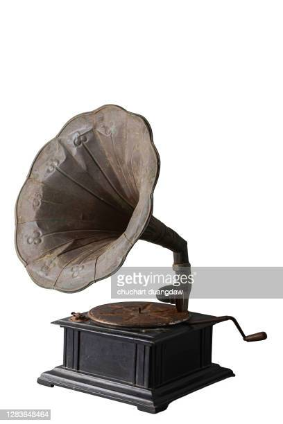 old gramophone, vintage gramophone, retro style gramophon isolated on white background - record analog audio stock pictures, royalty-free photos & images