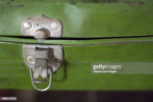 Old Green Metal Box with Latch