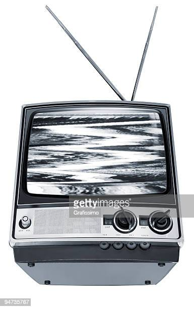 Old grey television with interruption