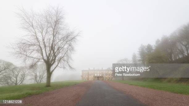 old hall in the fog - fog stock pictures, royalty-free photos & images