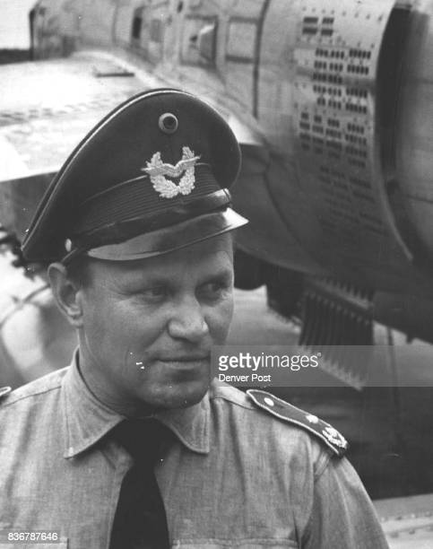 Old Hand Active in New Luftwaffe Lt Col Walter Krupinski who knocked down 197 Allied planes in World War II stands alongside an F84 jet of the...