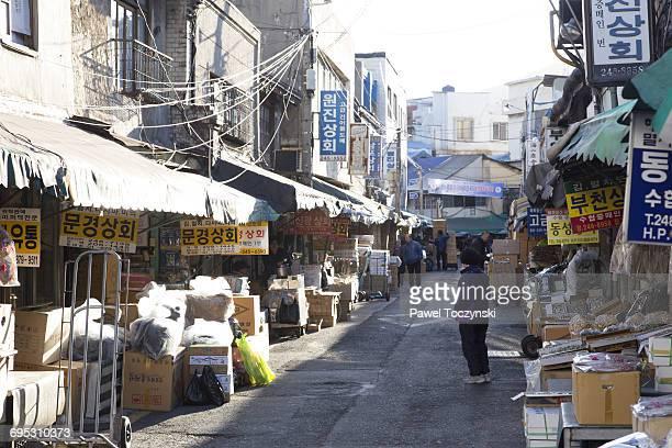 Old harbor market in Busan, Korea