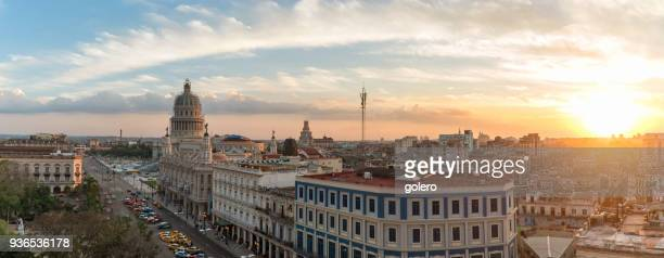 old havanna citscape with capitol at sunset - old havana stock pictures, royalty-free photos & images