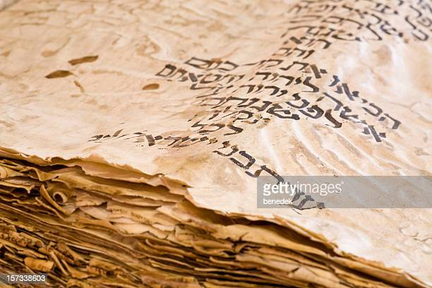 old hebrew manuscript circa 10th century pentateuch - ancient stock pictures, royalty-free photos & images