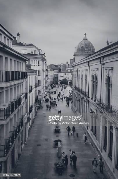 old historic centre of lugo. pedestrian bispo street. people walking - victor ovies fotografías e imágenes de stock