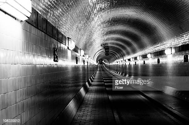 old historic elbe tunnel, black and white - industrial revolution stock pictures, royalty-free photos & images