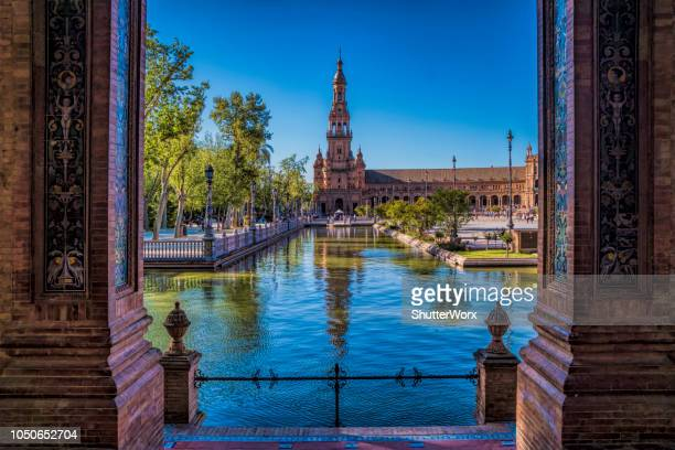 old historical buildings in the plaza de espana in seville spain - seville stock pictures, royalty-free photos & images