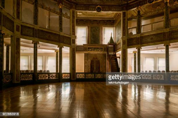 old historical ottoman mevlevi monastery ceremony area in beyoglu istanbul turkey - sufism stock photos and pictures
