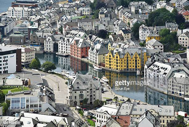 Old historical town of Alesund in Norway seen from Aksla Mountain.