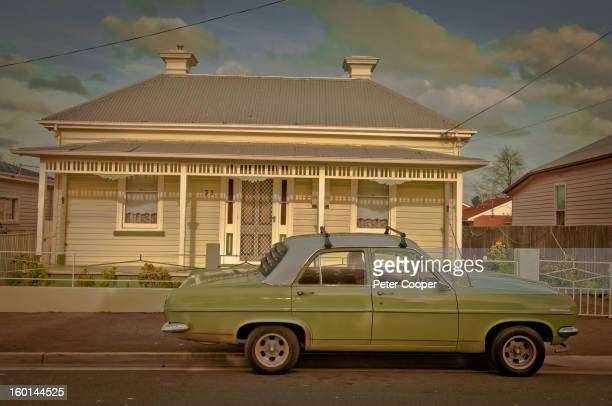 CONTENT] Old Holden car in front of cute bungalow in Invermay Launceston backstreets