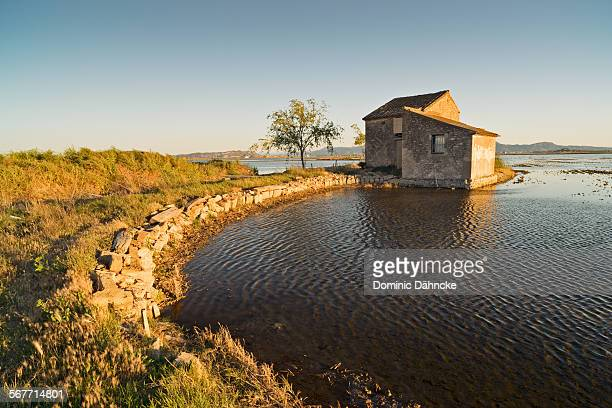 Old house in lake