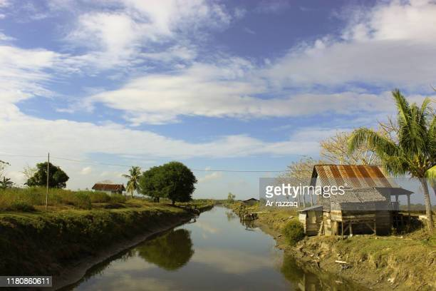 old house on the edge of the pond - kiribati stock-fotos und bilder