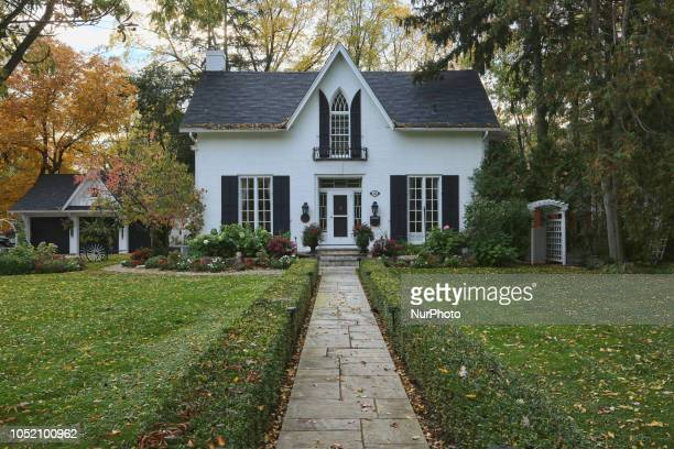 Old house pictured during the Autumn season in Unionville, Ontario, Canada.