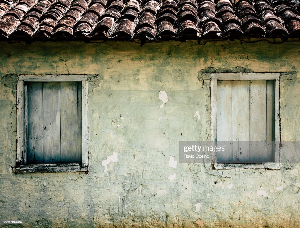 Old house windows : Stock Photo