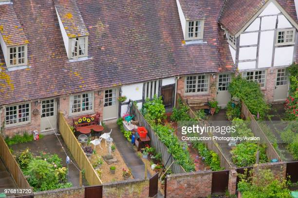 Old houses and back gardens in Tewkesbury UK.