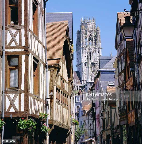 old houses and st. ouen church, rouen, seine maritime, haute normandie (normandy), france, europe - rouen stock pictures, royalty-free photos & images