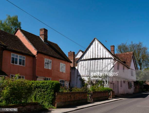 old houses in water street, lavenham, suffolk - lavenham stock photos and pictures