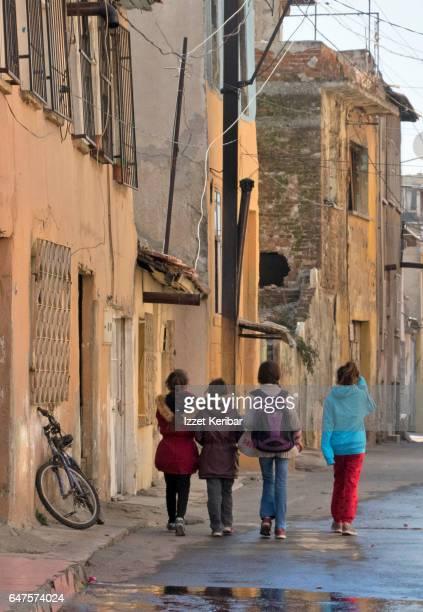 Old houses now mostly  inhabited by syrian refugees, Basmane neighbourhood Izmir, Turkey